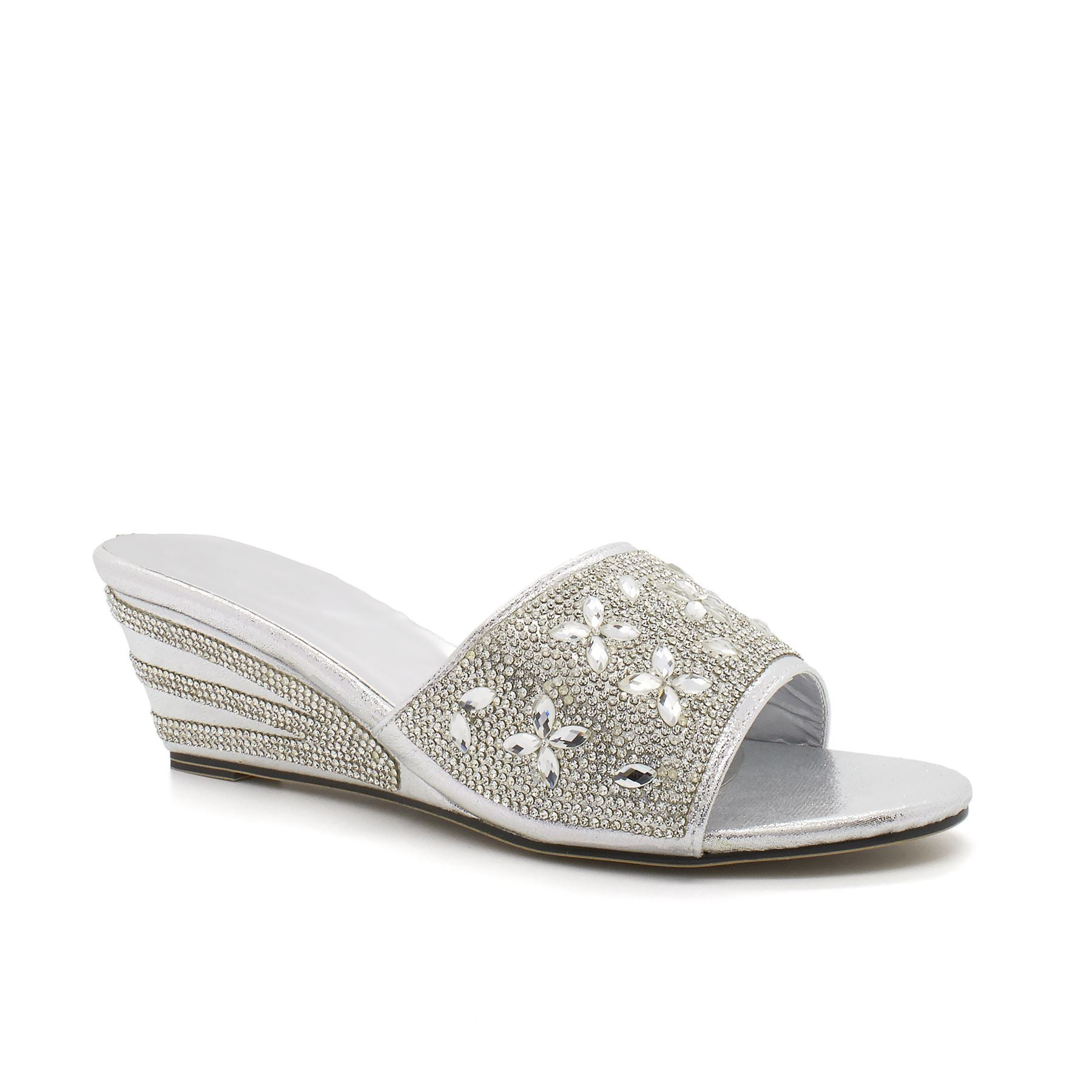 Silver Diamante Floral Strap Wedge