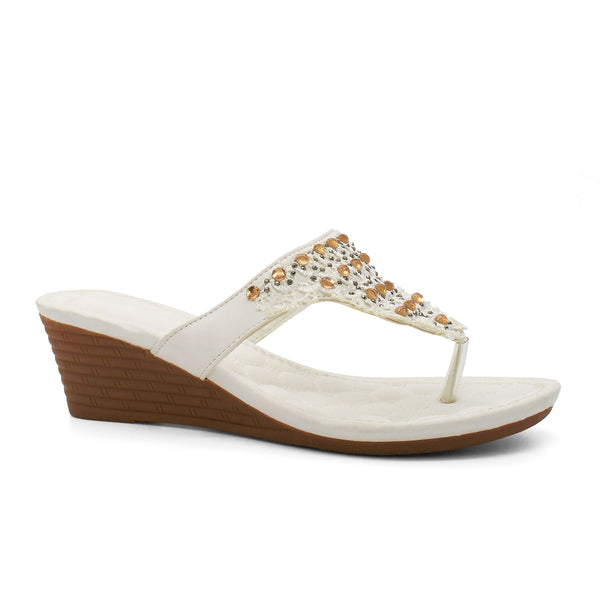 White Bead Embellished Wedge Sandals