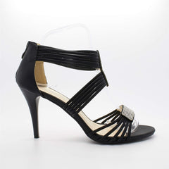 Black Diamante Strap Stiletto Heel