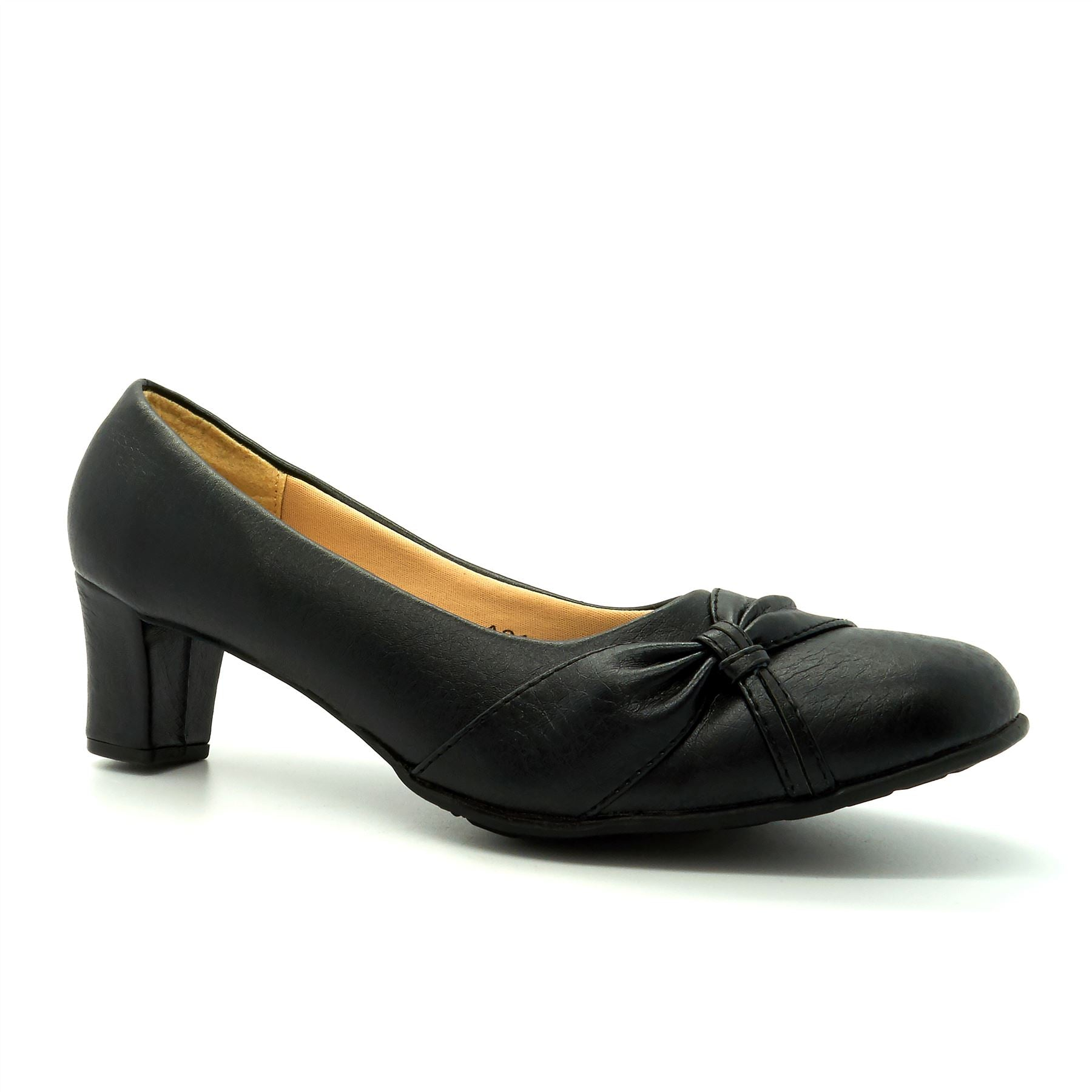 Black Front Detailed Court Shoes
