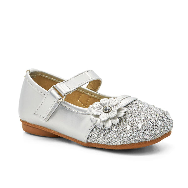 Silver Flower Diamante Mary Janes