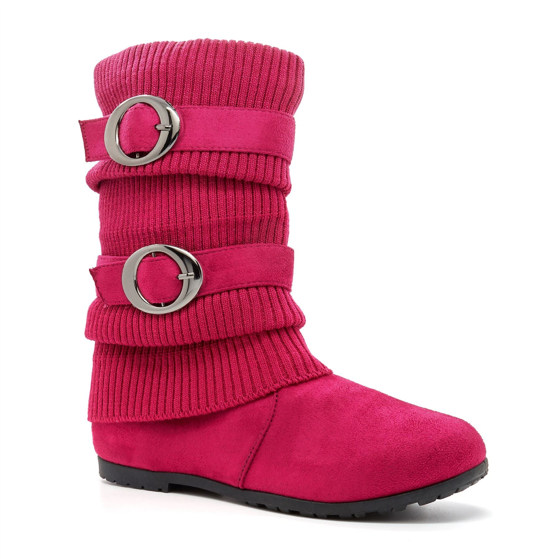 Pink Faux Suede Knitted Calf Boots