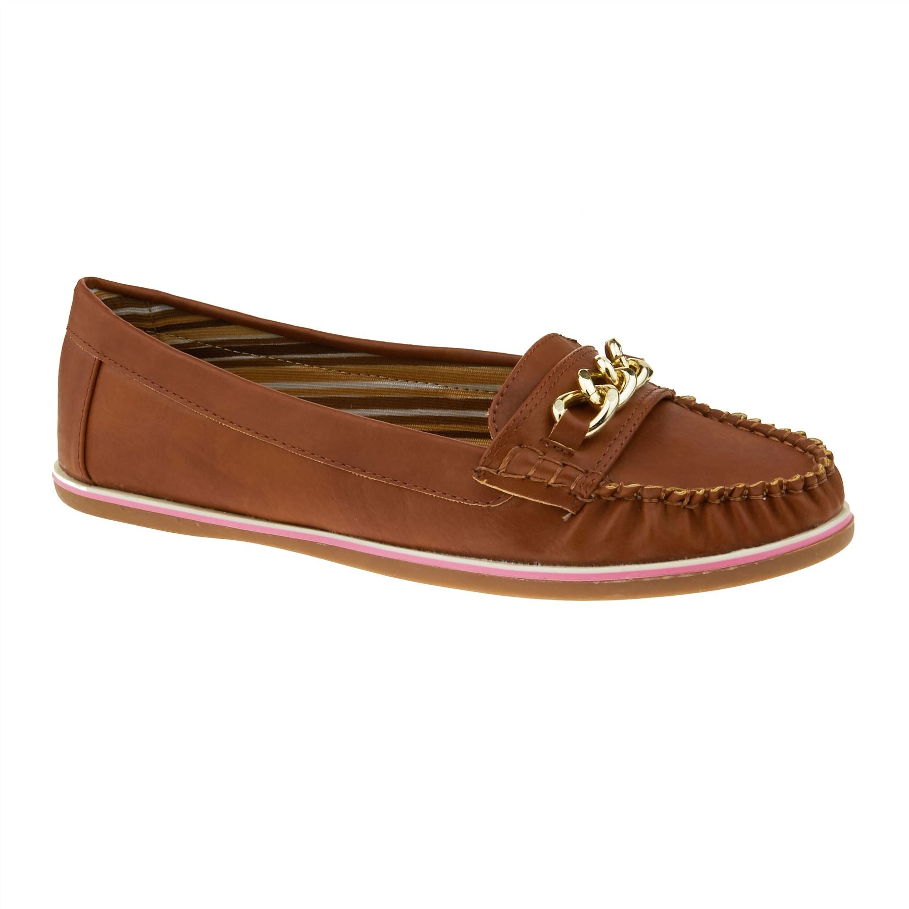 Brown Chain Trim Moccasin