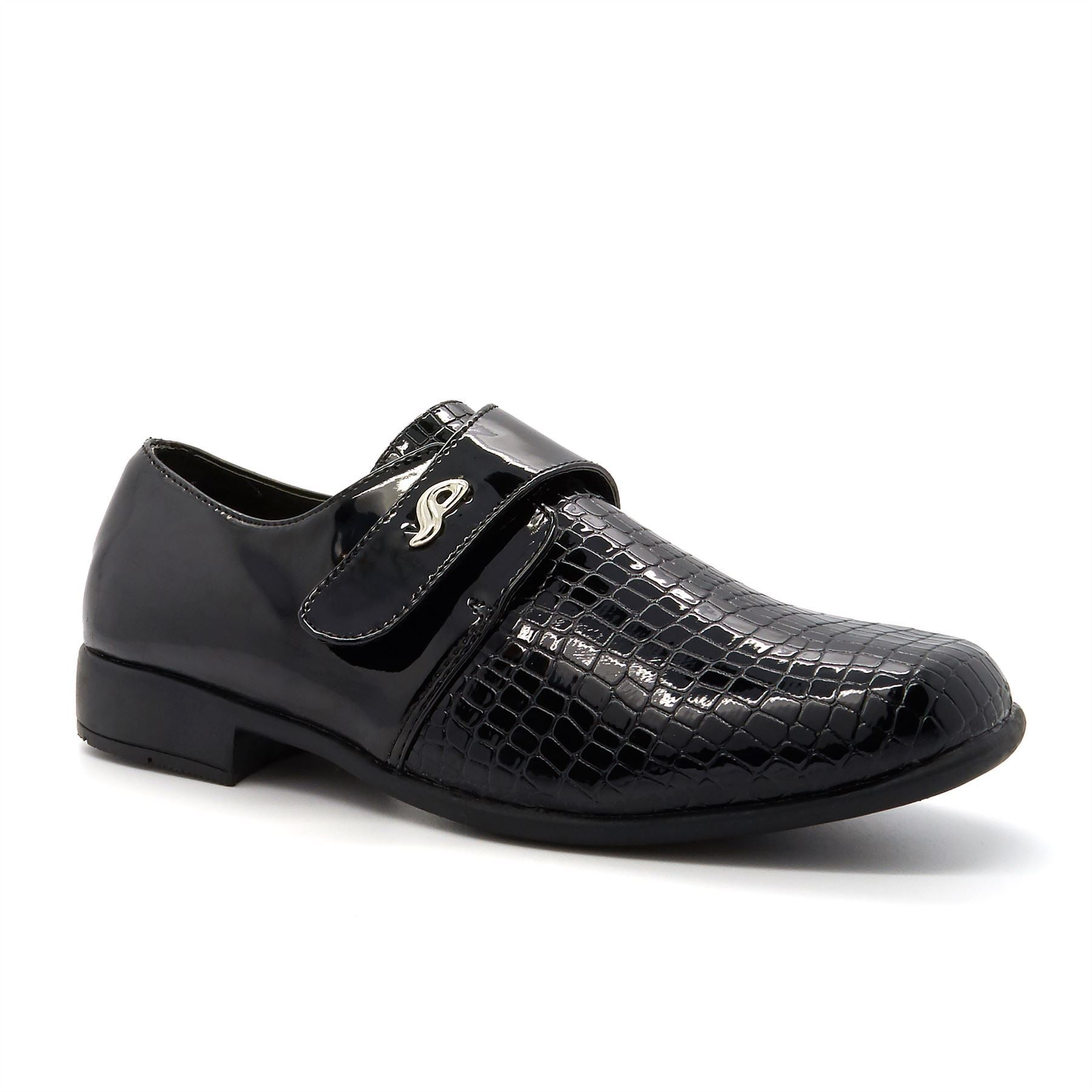 Black Patent Moc Croc Shoes