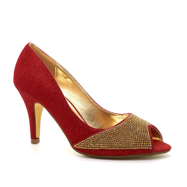 Red Peep Toe Heeled Court Shoes