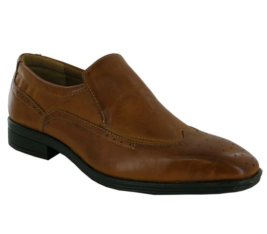 Tan Wingtip Brogue Slip On Shoes