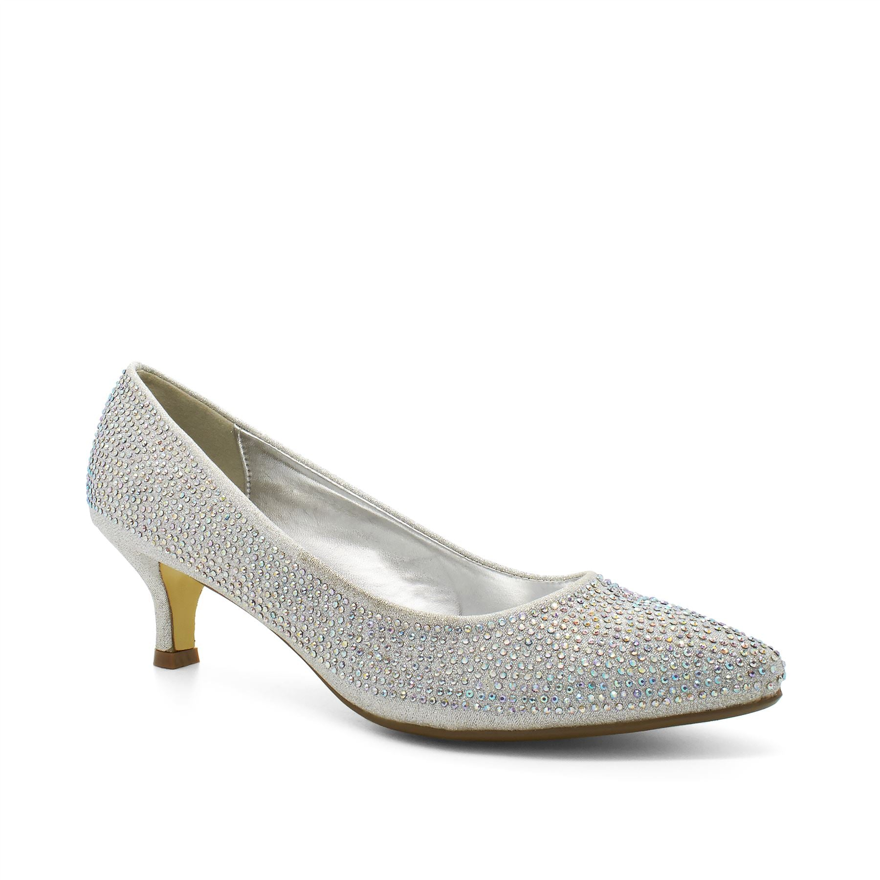 dc8e473dae Silver Diamante Kitten Heeled Court Shoes – London Footwear