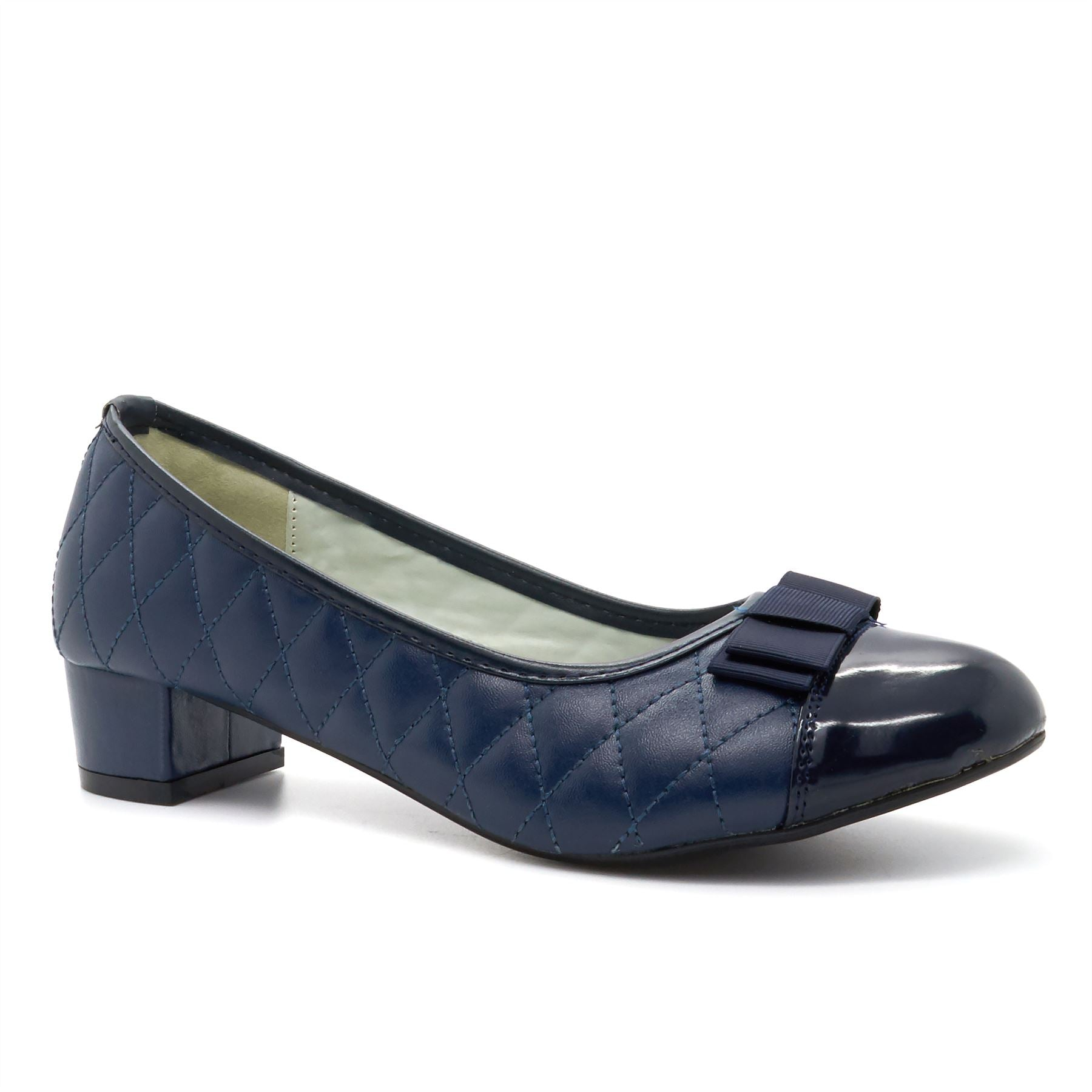 Blue Quilted Block Heeled Court Shoes