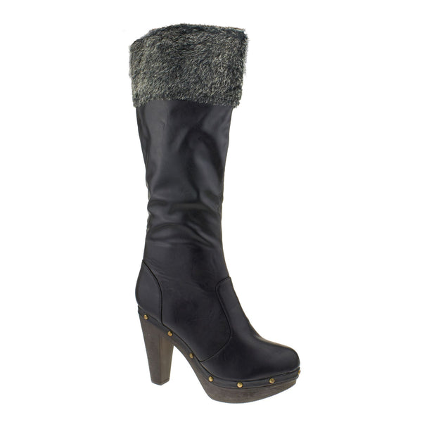 Black Faux Fur Cuff Heeled Knee Boots