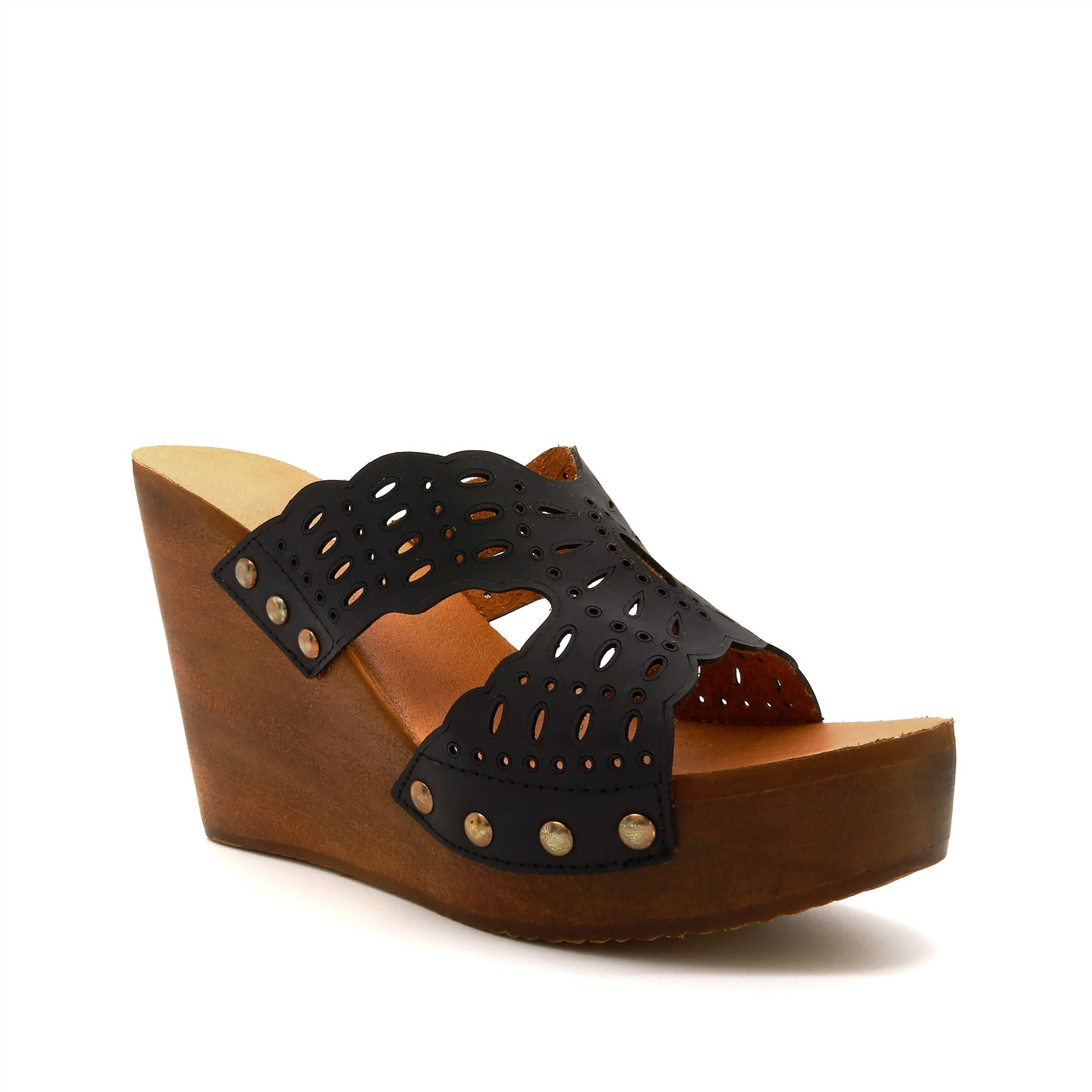 Black Laser Cut Wedge Mules