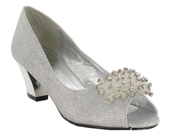 Silver Flower Detail Block Heeled Court Shoes