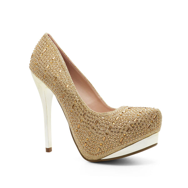 Gold Platform Heeled Court Shoes