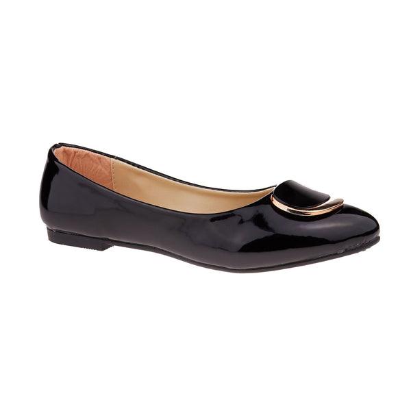 Black Vinyl Buckle Detail Ballet Flats
