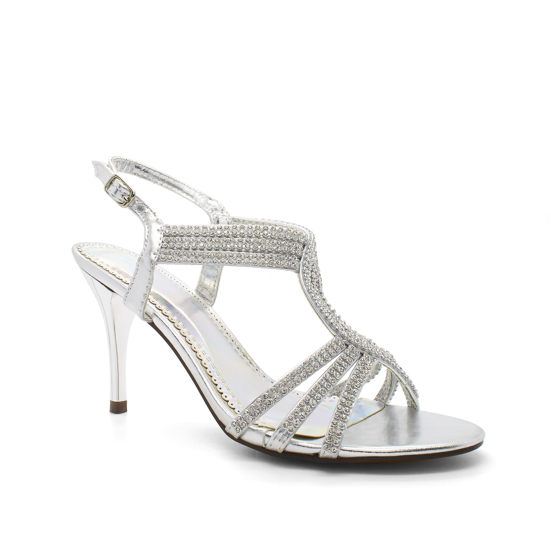 Silver Embellished Strappy Heeled Sandals