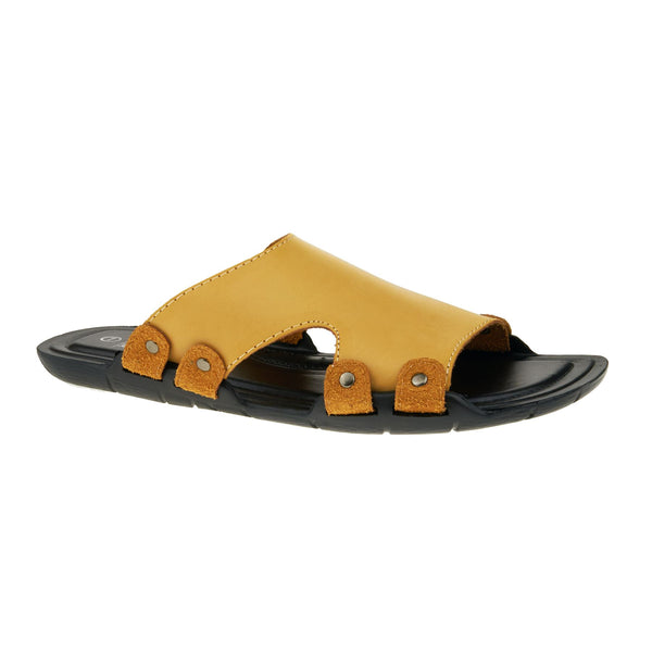 Camel Leather Look Sandals