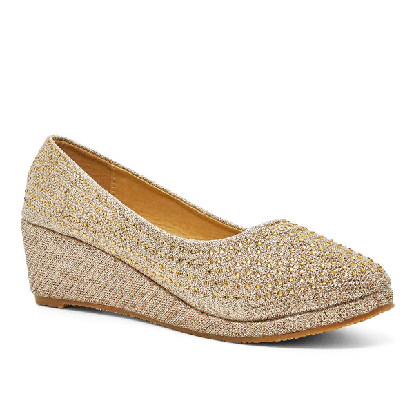 Gold Wedge Heeled Court Shoes