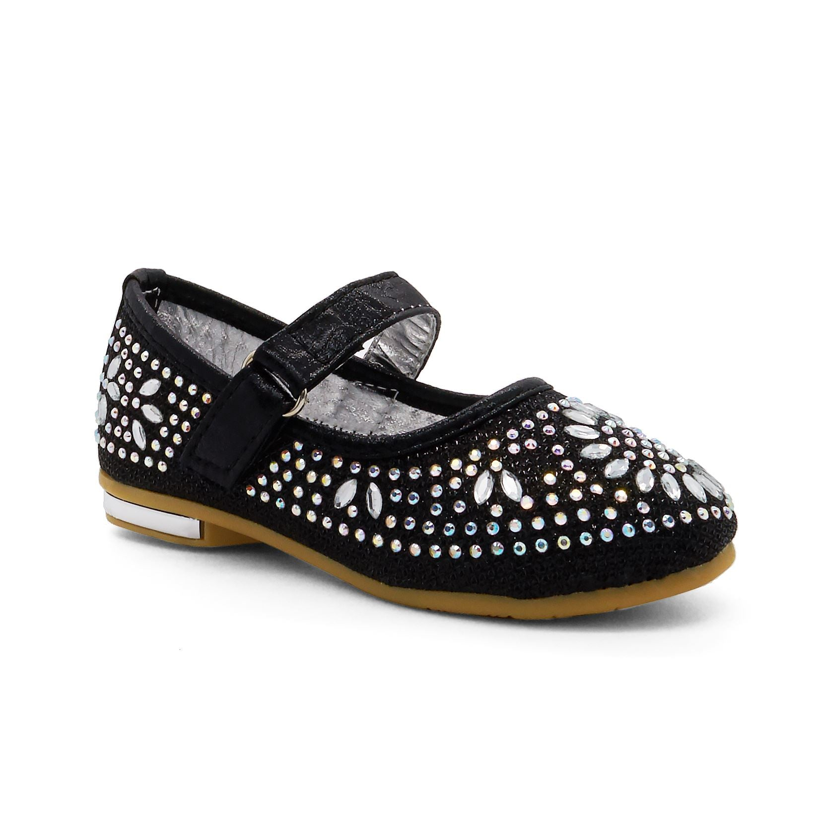 Black Floral Embellished Mary Janes