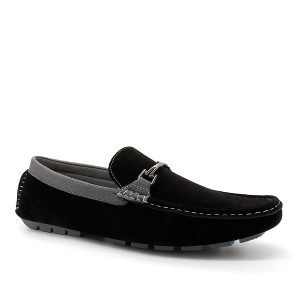 Black Suedette Bar Buckle Driving Shoes