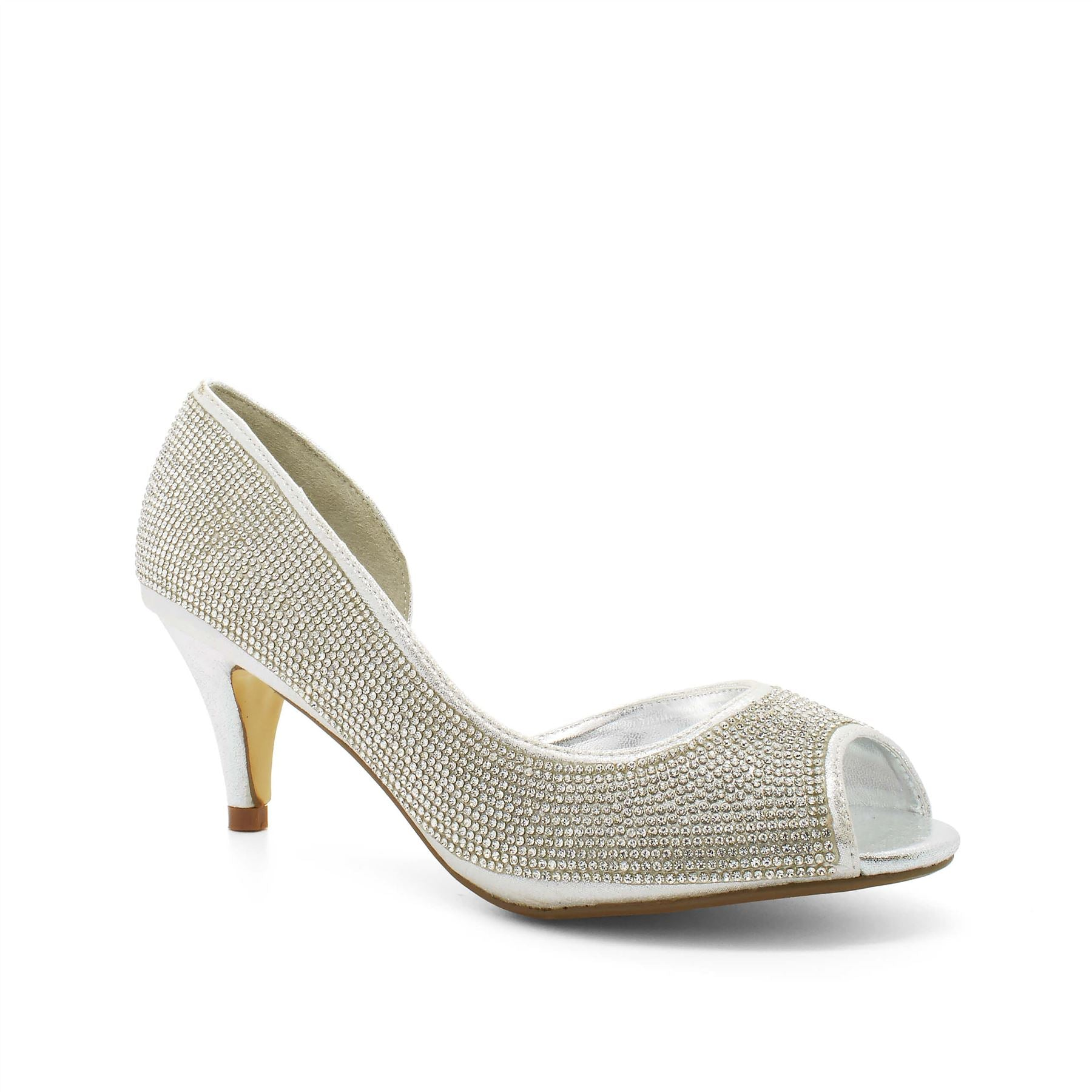 Silver Diamante Cut Away Court Shoes