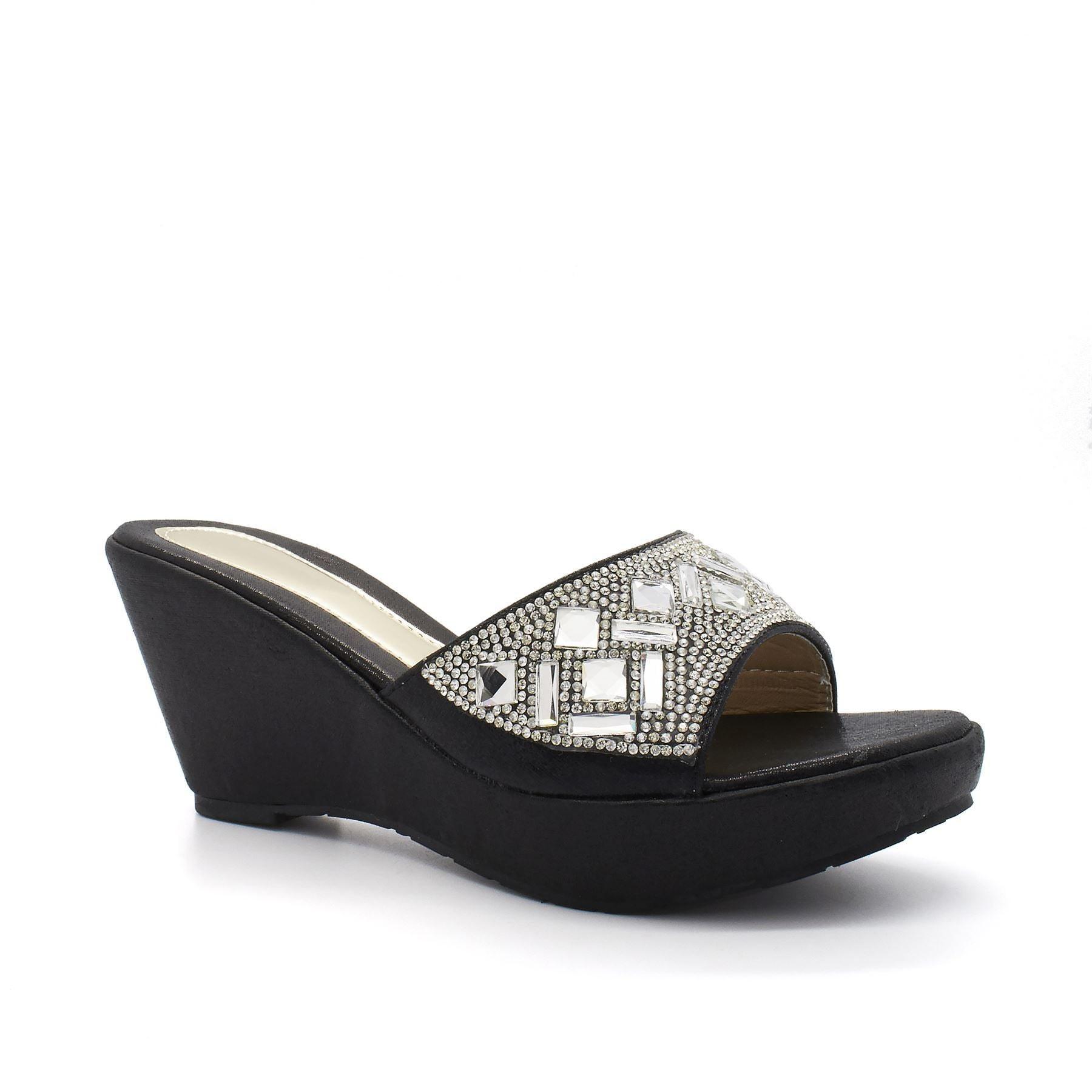 Black Diamante Strap Platform Wedge