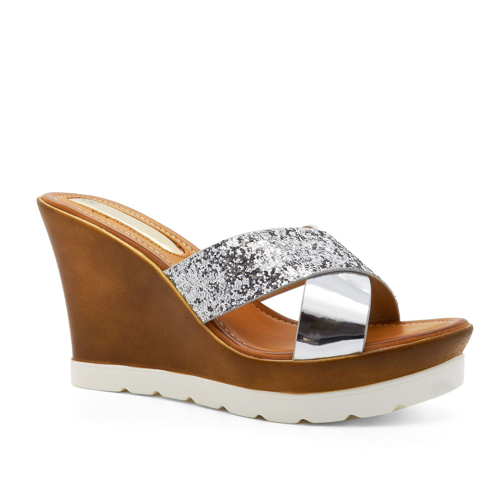 539836b2c3dc Silver Cross Strap Wedge Heeled Mules. London Footwear. No reviews. SKU   103880. Availability  1 in stock