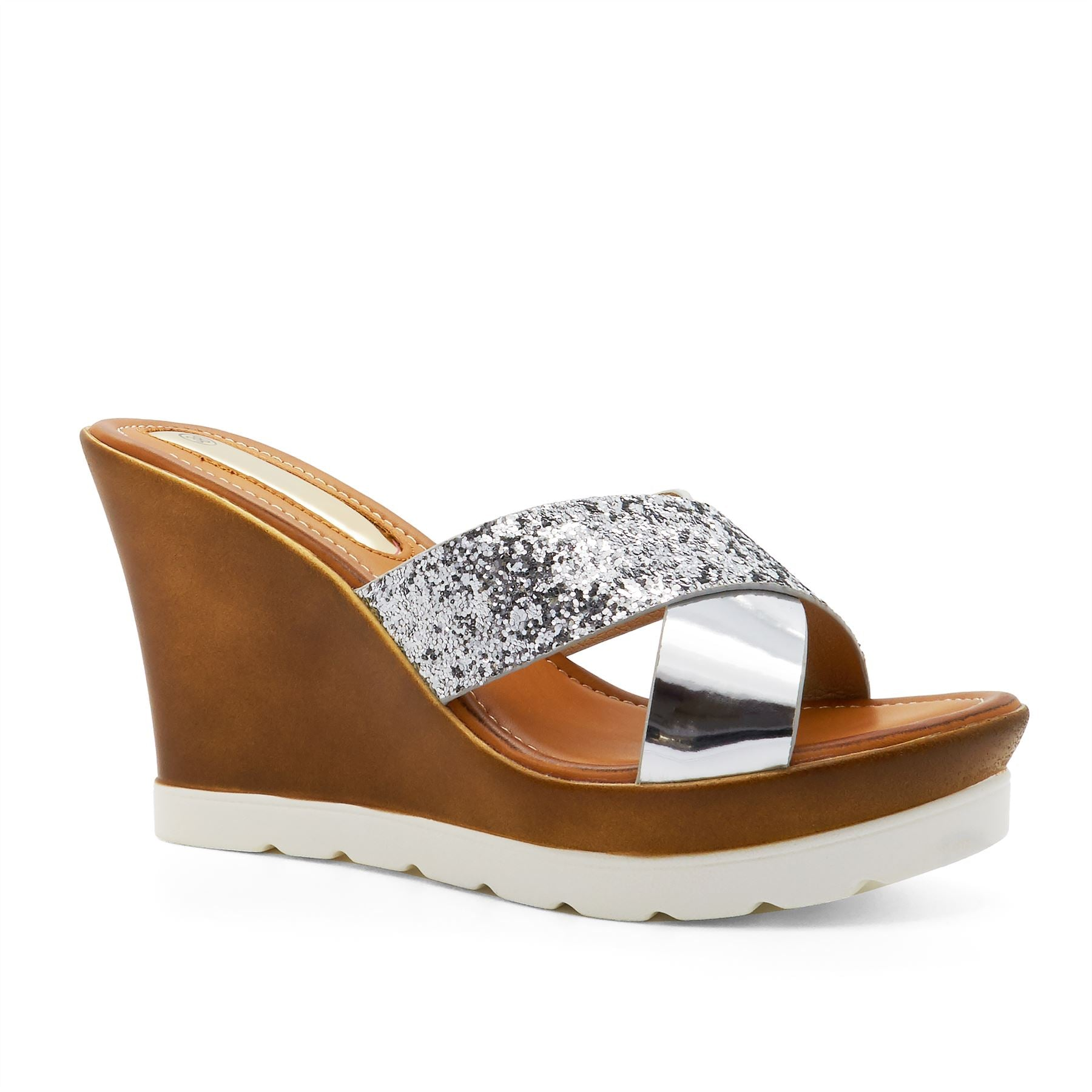 Silver Cross Strap Wedge Heeled Mules