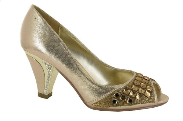 Gold Diamante Peep Toe Court Shoes