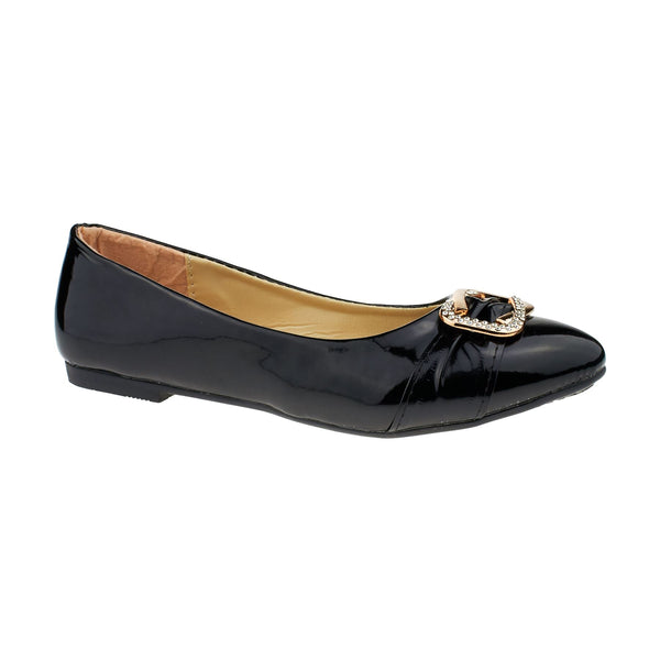 Black Vinyl Diamante Ballet Flats