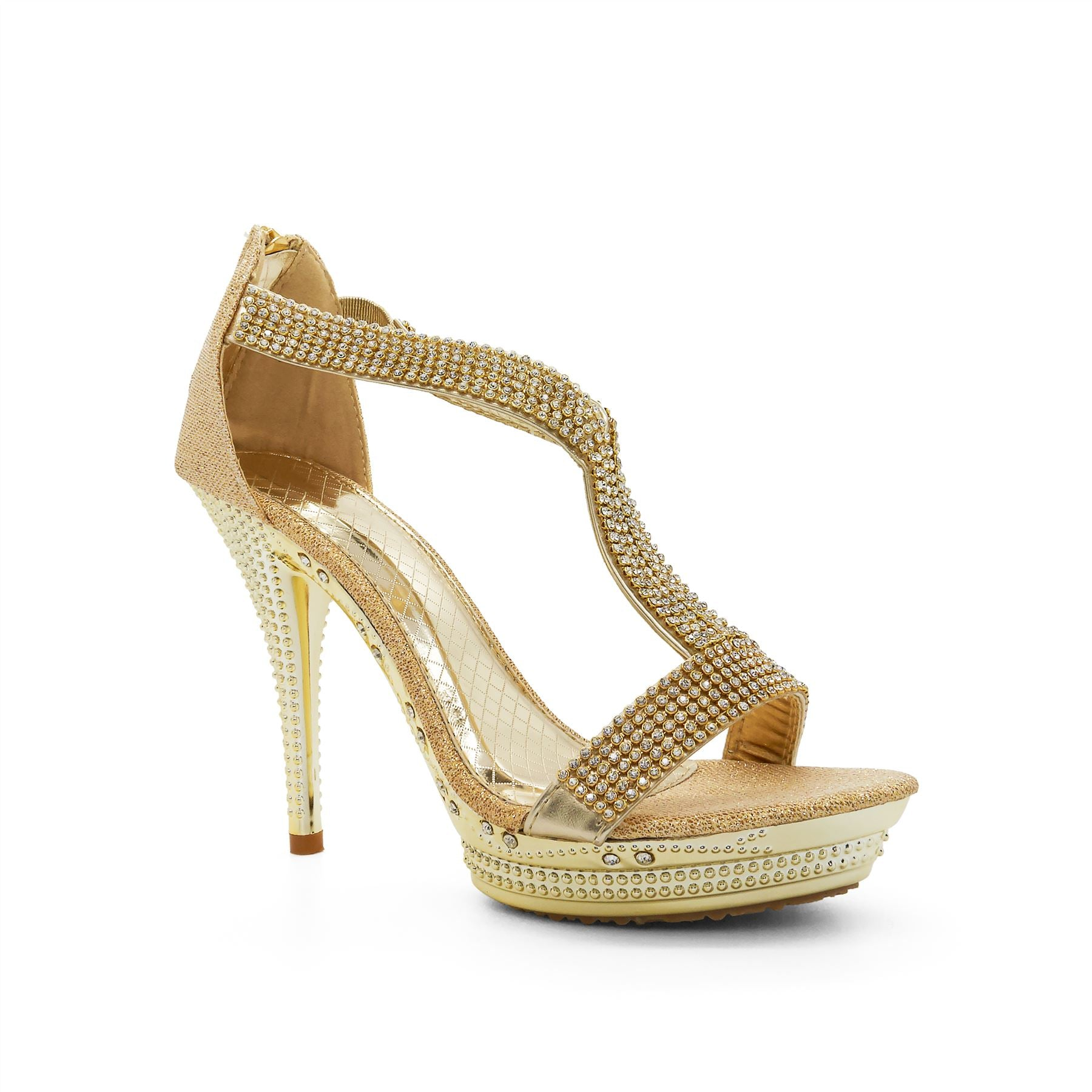 Gold Embellished T-Bar Heeled Sandals
