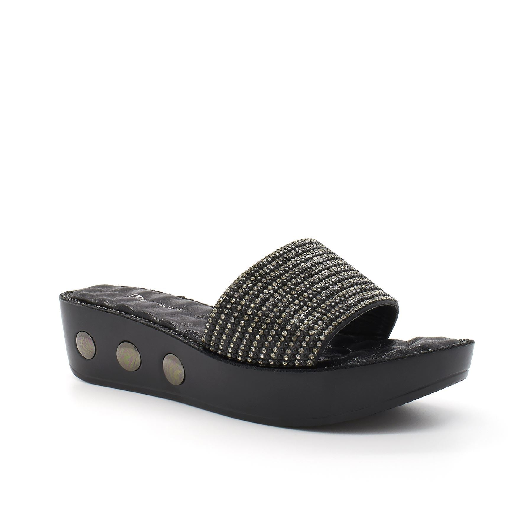 Black Diamante Strap Slip On Platform