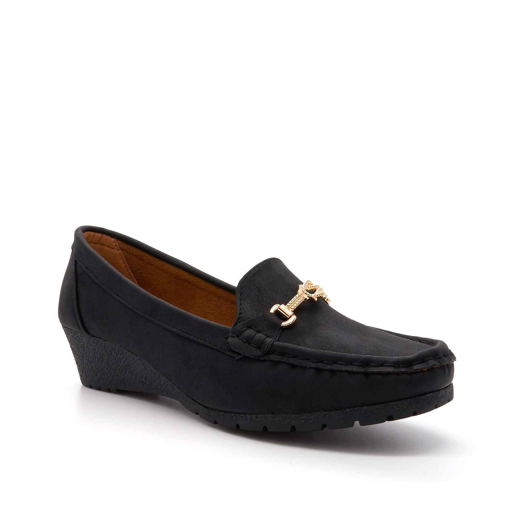 Black Buckle Detail Wedge Loafers