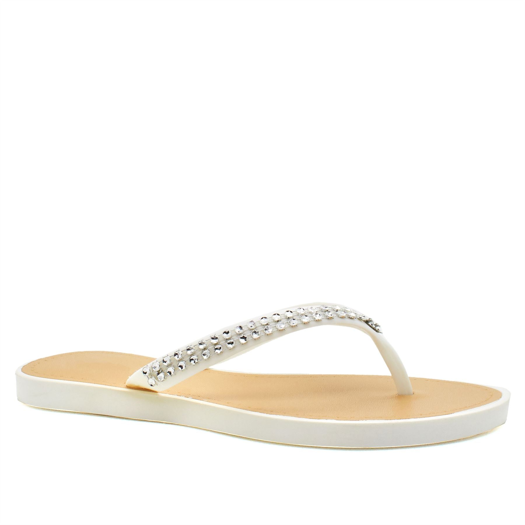 White V Shape Diamante Flip Flops