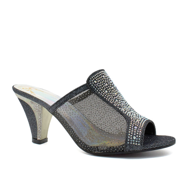 Black Sheer Mesh Block Heeled Mules