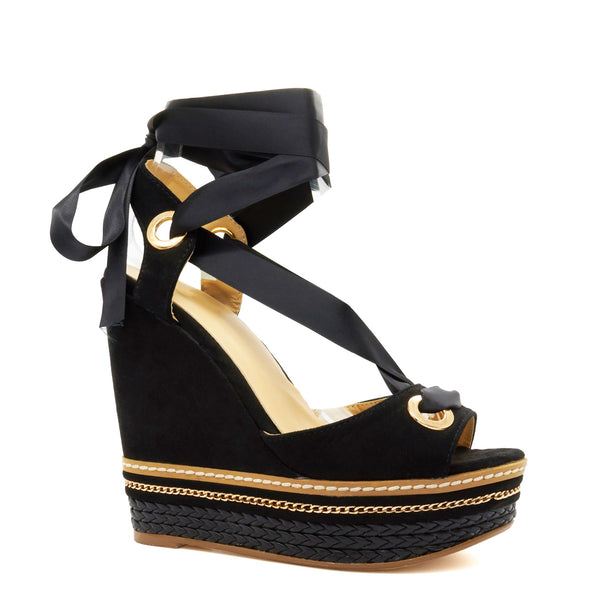 Black Chain Detail Wedge Heeled Sandals