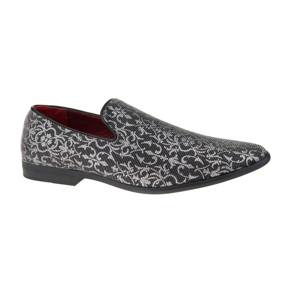 Silver Metallic Patterned Slip On Loafers