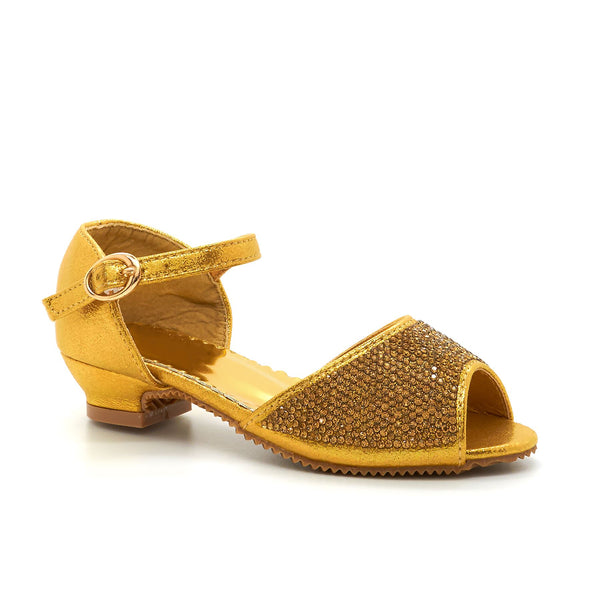 Gold Embellished Peep Toe Mary Janes