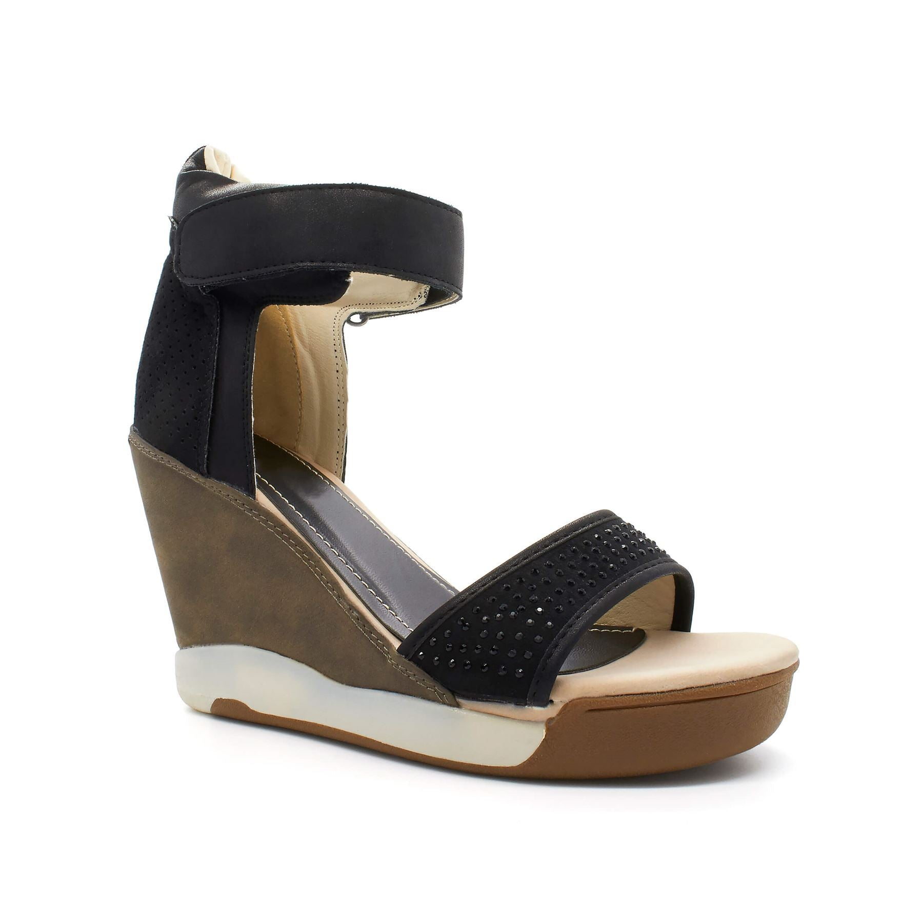 Black Strap High Top Wedge Trainer
