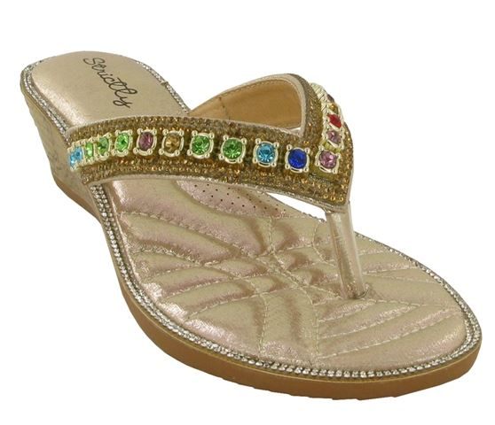 0326c16e0f5594 Gold V Strap Jewelled Flip Flops – London Footwear