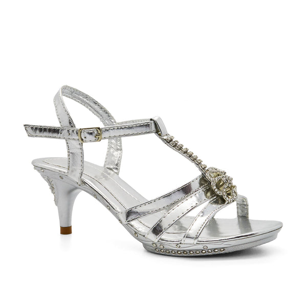 Silver Diamante T-Bar Heeled Sandal