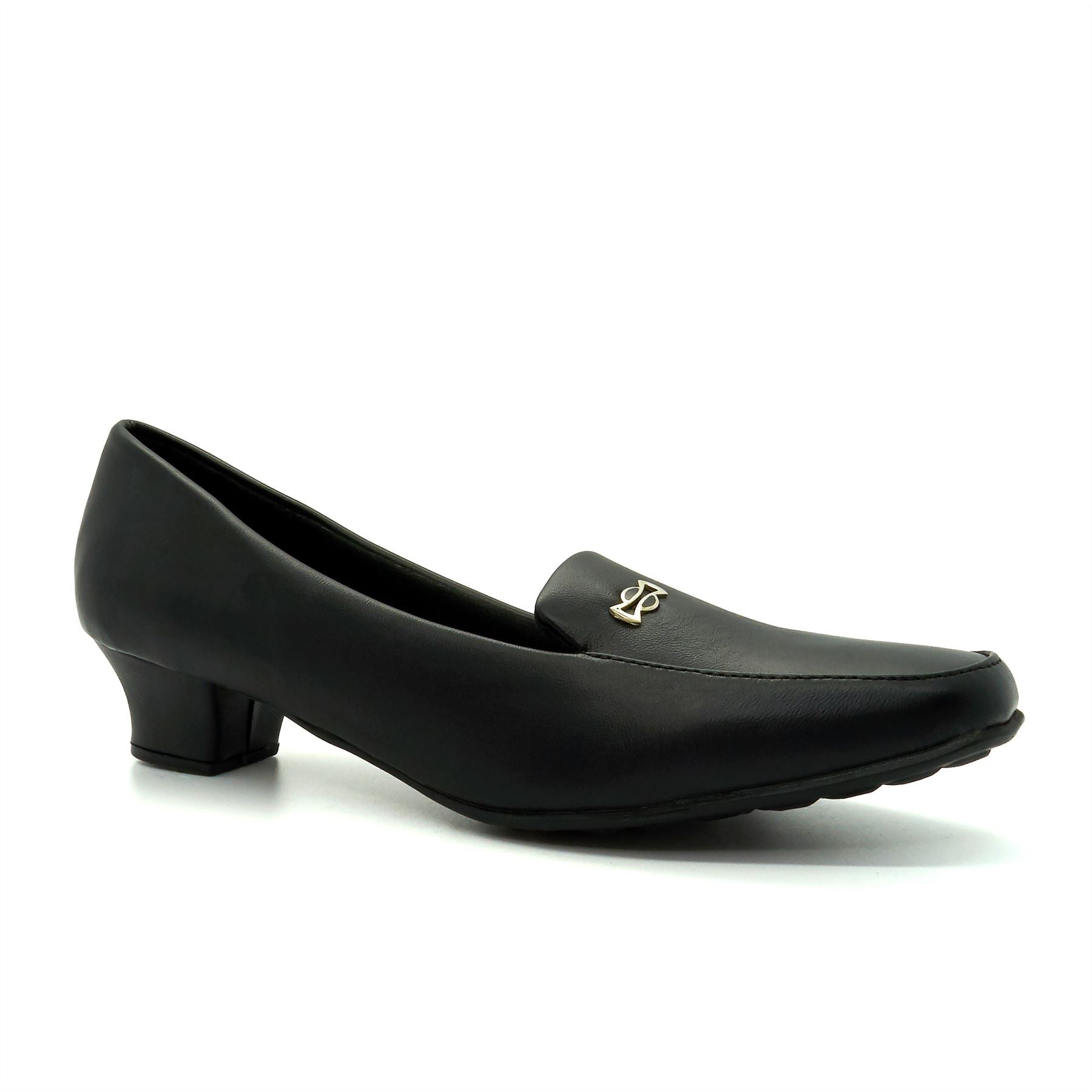 Black Buckle Detailed Court Shoes