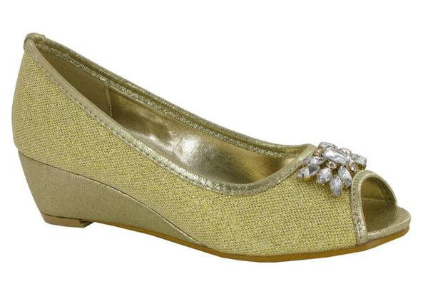 Gold Jewelled Wedge Heeled Court Shoes