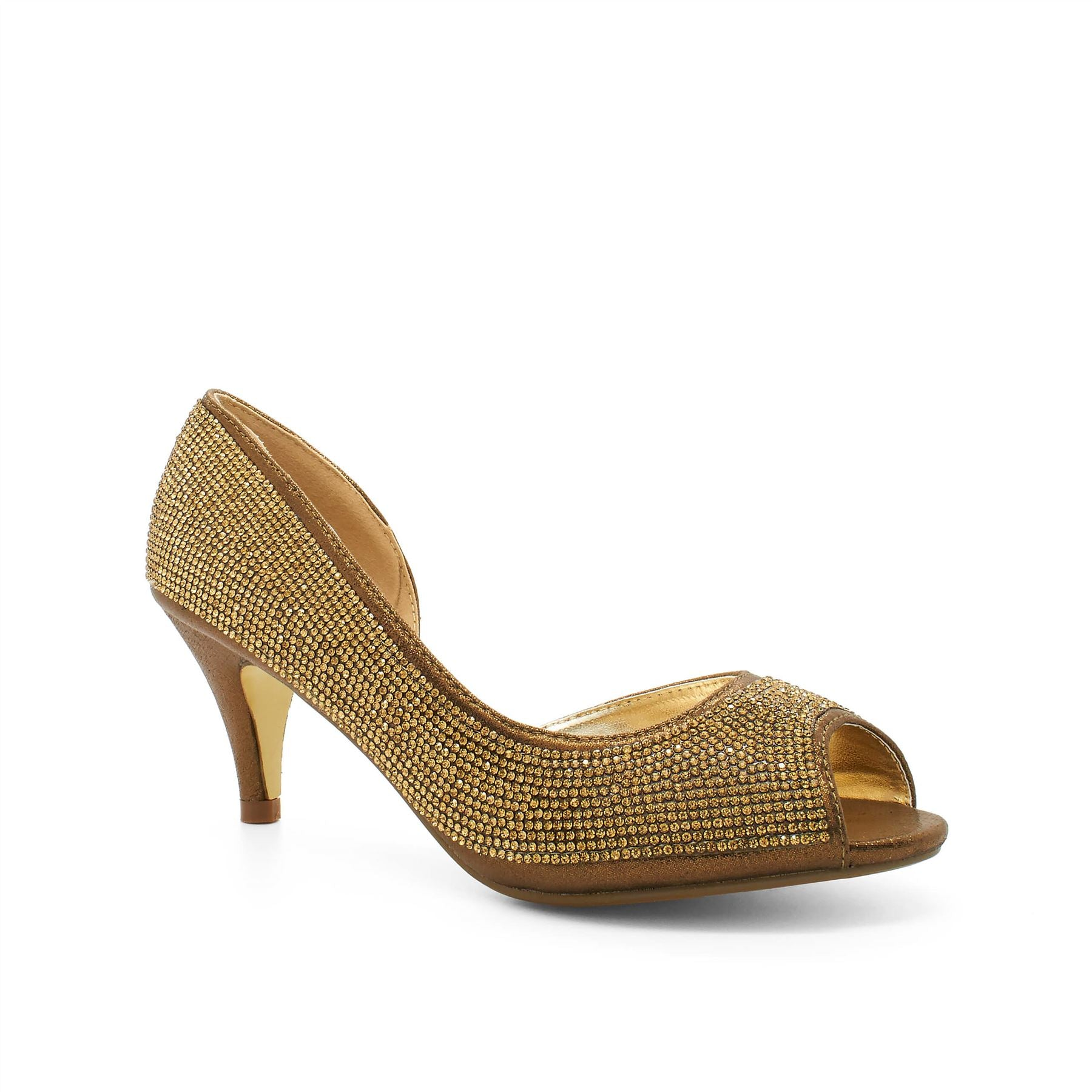 Bronze Diamante Cut Away Court Shoes