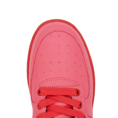 Pink Perforated Hi Top Trainers