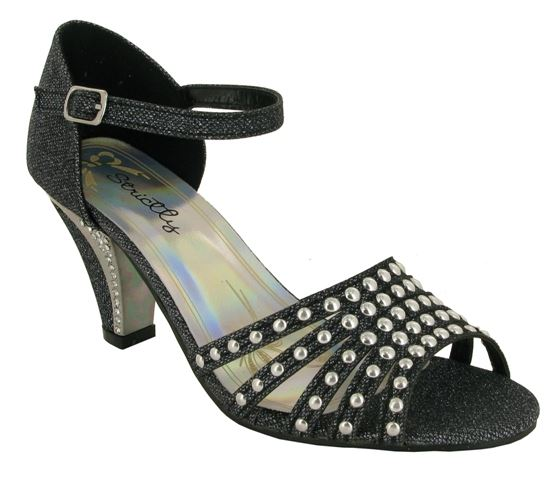 Black Rivet Detail Block Heeled Sandals