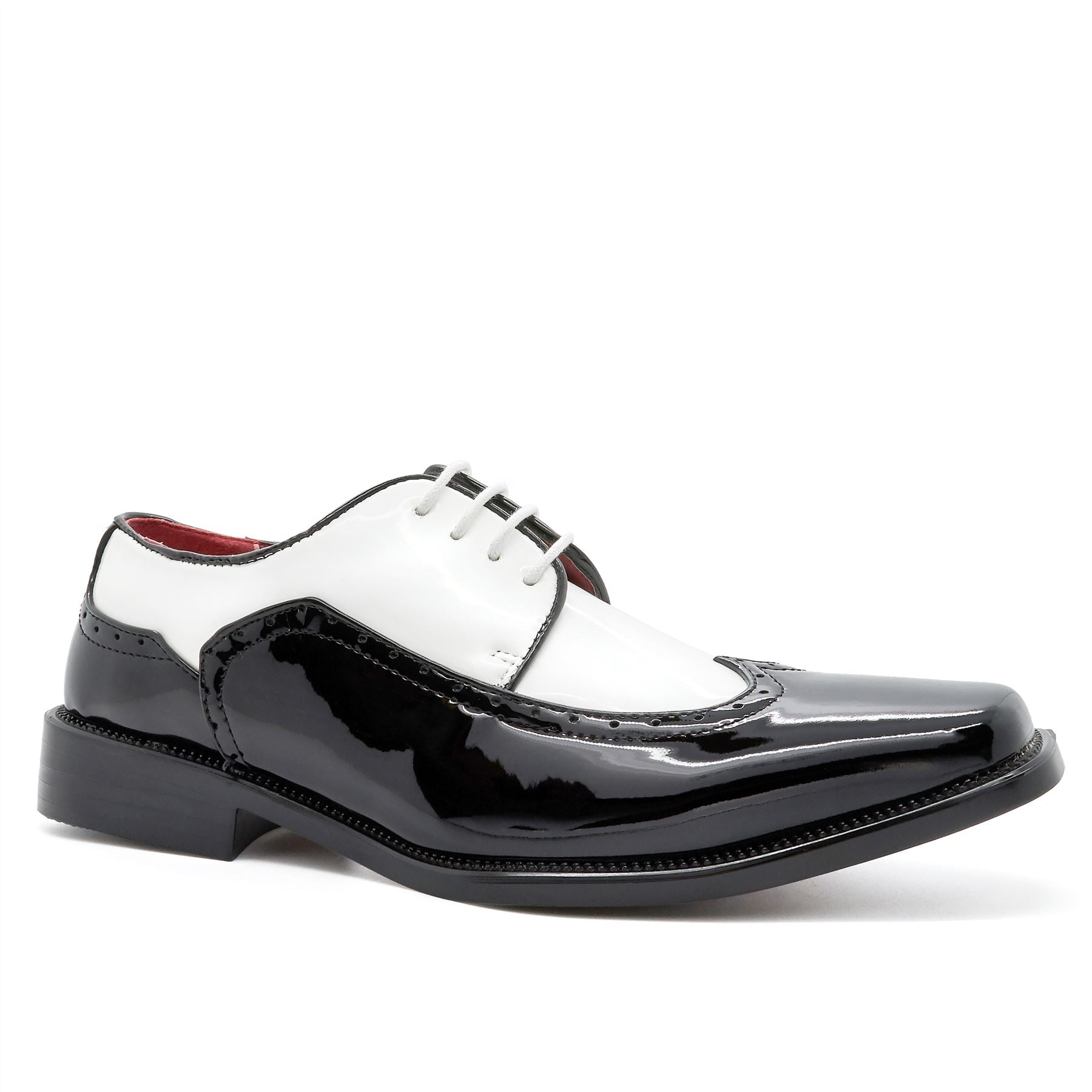 Black & White Lace Up Wingtip Derby Shoes