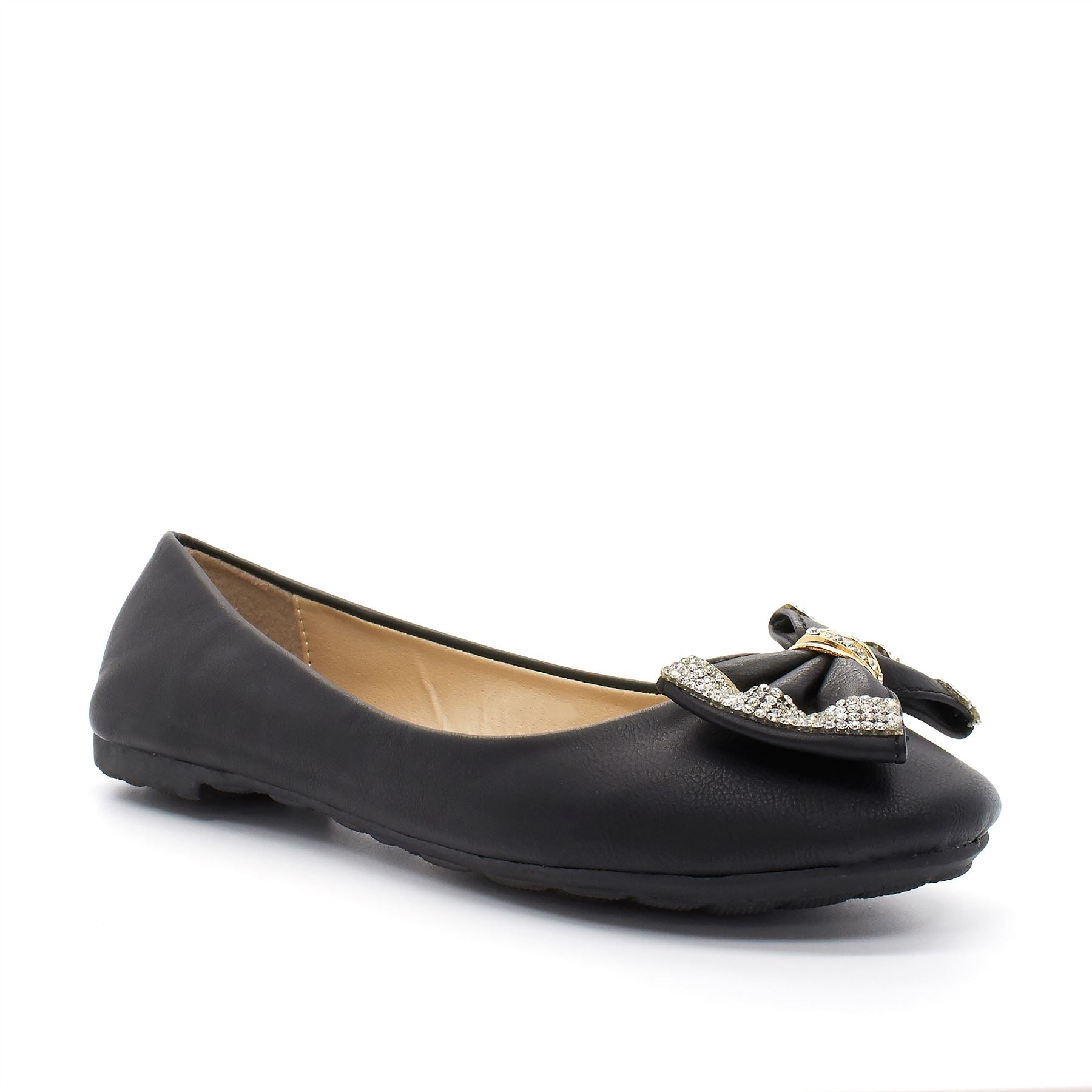 Black Diamante Bow Ballet Flats