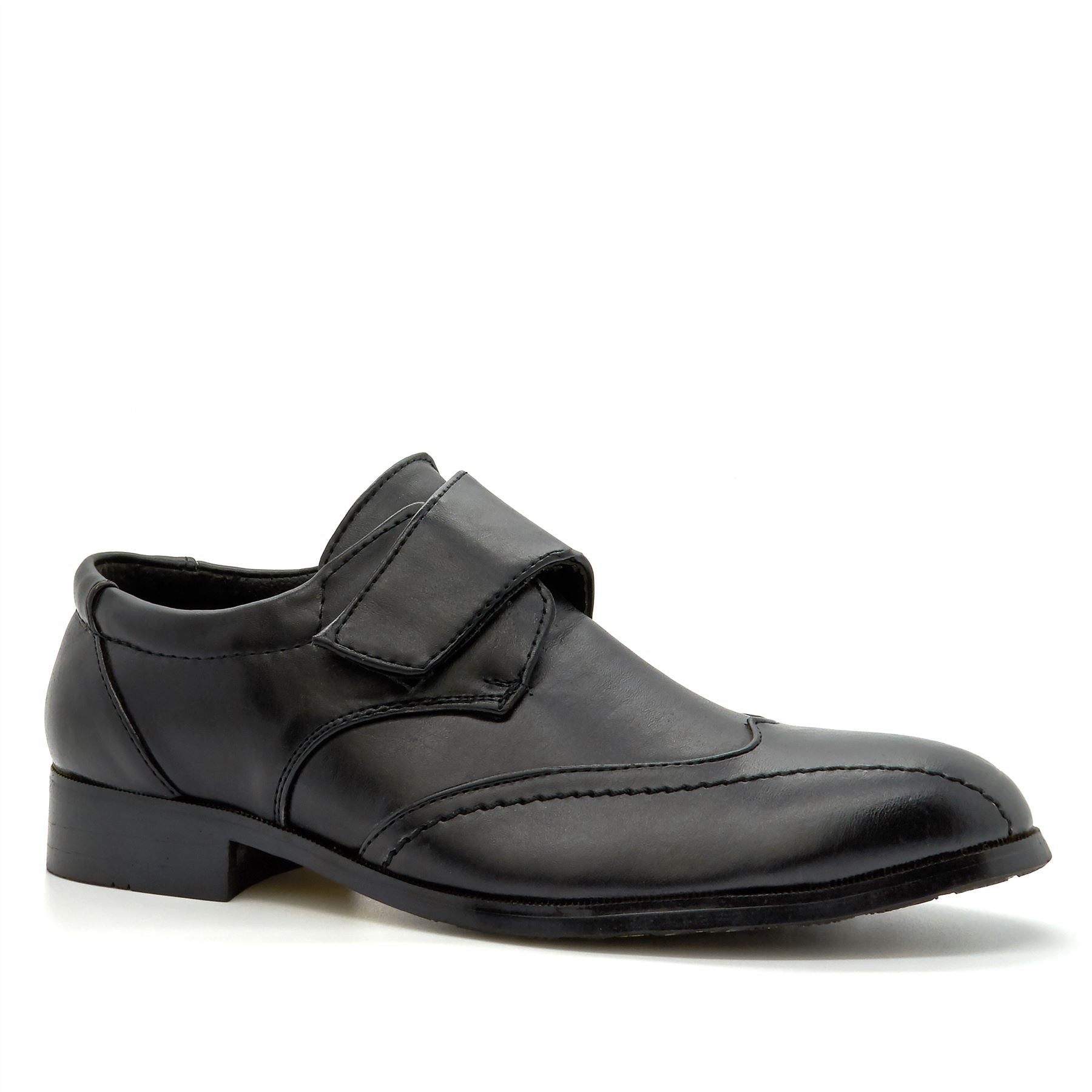 Black Hook & Loop Wingtip Loafers