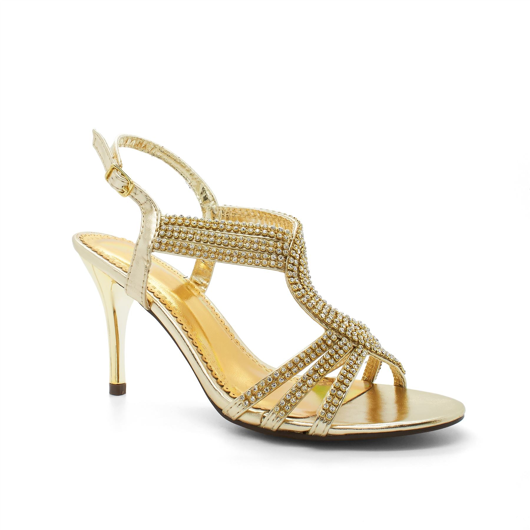 Gold Embellished Strappy Heeled Sandals