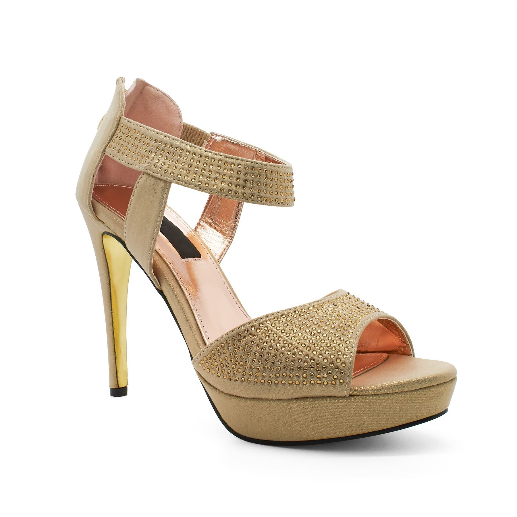 Gold Diamante Platform Heeled Sandals