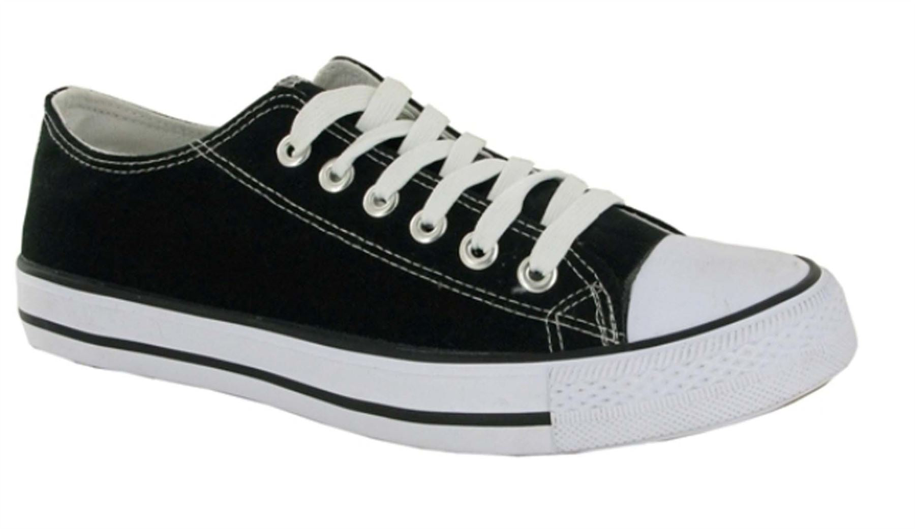 Black & White Canvas Lace Up Trainers